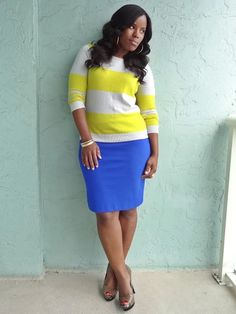 * Sweater – Oldnavy * Skirt – The Limited * Pumps – Jessica Simpson via DSW * Bracelets – Gifted * I believe this is the most color I have ever worn to work. Not very standard for a Monday but it was dark …