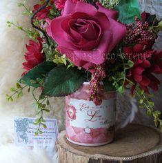 Silk Floral Arrangement Vintage Style Love by AngelasDecoAccents, $55.00
