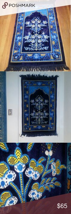 Turkish Rug or wall tapestry Exotic Turkish rug in vibrant hues of royal blue, turquoise, gold and white. Looks beautiful as a floor rug or a wall hanging/tapesty. The color scheme is stunning ,and the texture is a velvety pile with golden embroidery detailing. Exquisite and authentic, A souvenir from Turkey. Other