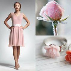 pink abiti da cerimonia corti matrimonio chiffon