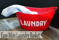 Collect kitchen towels, rags and napkins in a cute mini laundry basket made with Dollar Store materials.