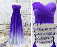 Hot Sale Purple Gradient Color Bridesmaid Dress, Sweetheart Long Prom Dress Chiffon, Pleats Bead Evening Dress, Wedding Party Prom Dress