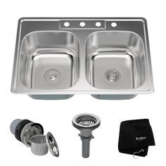 Kraus Stainless Steel x Double Basin Drop-In Kitchen Sink Kitchen Sink Strainer, Drop In Sink, Double Bowl Kitchen Sink, Kitchen Basin, Big Kitchen, Modern Kitchen Cabinets, Kitchen Countertops, Kitchen Furniture, Furniture Cleaning