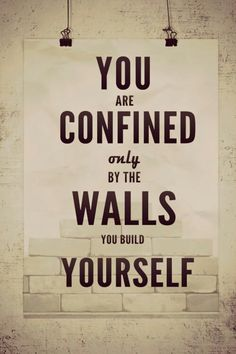 YOU are confined only by the walls you build YOURSELF.