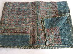 Cotton Hand Print Patchwork Kantha Quilt Bed Throw Bedspread Bed Coverlets GREEN
