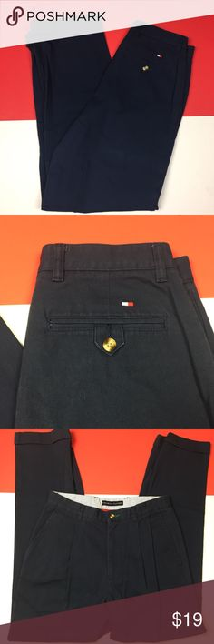 Men's Macy blue Tommy Hilfiger chino pants cuffed Authentic men's chino Tommy Hilfiger pants with cuffed bottoms. (Waist: 31 inches) (inseam: 32 inches) (outseam: 42 inches) color: navy blue. Tommy Hilfiger Pants Chinos & Khakis