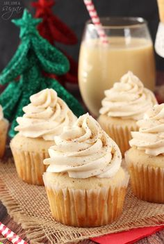 The perfect addition to your holiday party's dessert table, these tasty eggnog cupcakes couldn't be easier to make.