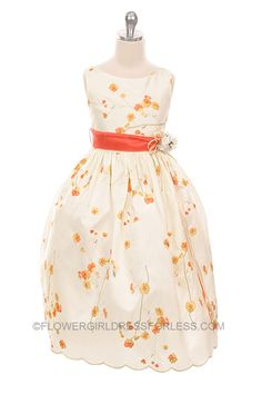 Ok. I LOVE THIS DRESS!!! It a-typical, but absolutely magical, adorable... MB_170OR - Flower Girl Dress Style 170- Ivory/Orange Embroidered Dress - Corals, Peaches, Oranges - Flower Girl Dress For Less