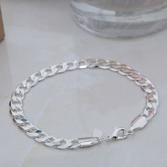 1Pc 925 Sterling Silver Delicate Bracelet Jewelry Charming Bangle Wristband New