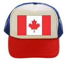 Canada Flag Maple Leaf Trucker Hat Cap red white blue