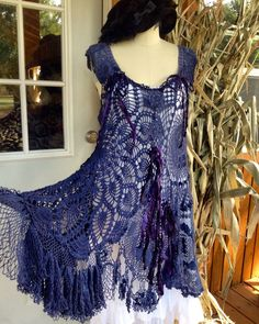 A personal favorite from my Etsy shop https://www.etsy.com/listing/250304138/denim-blue-crochet-boho-gypsy-romantic