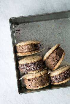 Chocolate Ice Cream Sandwiches w/ Tahini Cookies (Vegan + Gluten-Free) by The Green Life