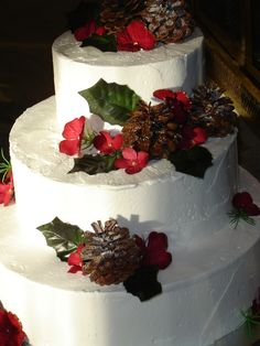 Beautiful Christmas Wedding Cake   ... #red #rustic #winter #wedding ... https://itunes.apple.com/us/app/the-gold-wedding-planner/id498112599?ls=1=8 … Tips on how to organise your dream wedding, within your budget ♥