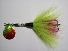 PREDATOR LURES MICRO BUCKTAIL SERIES    BLADE SIZE #5 DPI LAZER COLORADO BLADE LURE SIZE 5inch OVERALL CHARTREUSE/RED BLADE WITH FUCHSIA/CHARTREUSE BUCKTAIL   NICKEL PLATED BODY KAHLE WIDE GAP TREBLE HOOK  FOR PIKE BUT CAN BE FOR FINESSE MUSKY FISHING ALSO
