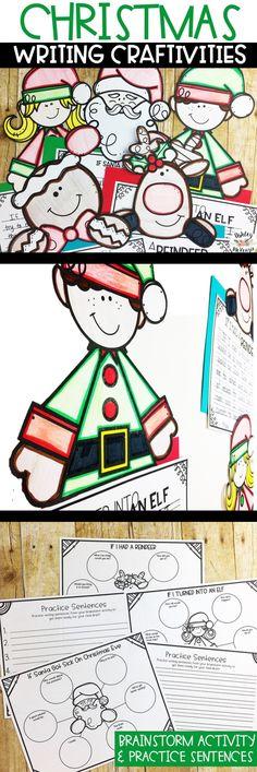 Fun Christmas writing prompts and Christmas craftivities!