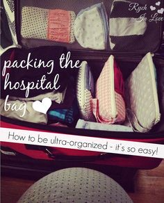 Rych In Love: Packing the hospital bag for baby (with Gussy Sews!) I'm not interested in buying a bunch of new bags but this definitely  has some great organization ideas that can be used with any bags... Maybe ziplock would be good. Then hubby can see directly.