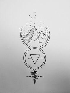 My creation Virgo constellation, mountain, earth element symbol, Mercury symbol, tattoo. More I would change the virgo constellation for the taurus constellation Taurus Tattoos, Symbol Tattoos, Body Art Tattoos, Tattoo Drawings, Music Drawings, Taurus Symbol Tattoo, Taurus Symbols, Virgo Tattoo Designs, Tatoos