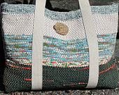 Woven Tote Bag Book Bag Knitting Yarn Bag, Seaside Garden Style Beach Cottage Chic Urban Fashion, Artisan Handwoven Recycled Cotton Rag
