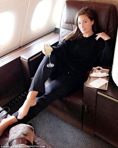 Travel in style: Ashley enjoyed a luxurious trip to the Philippines, posting an image of her seat on her social media accounts