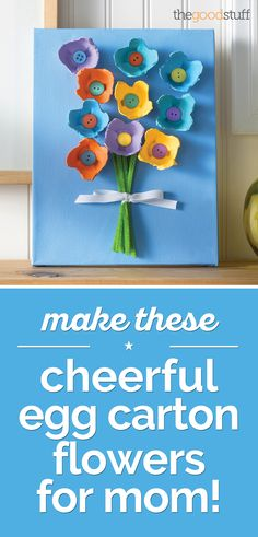 Make These Cheerful Egg Carton Flowers for Mom! - thegoodstuff - Make These Cheerful Egg Carton Flowers for Mom! Spring Crafts For Kids, Summer Crafts, Diy For Kids, Holiday Crafts, Kids Fun, Toddler Crafts, Preschool Crafts, Easter Crafts, Fun Crafts