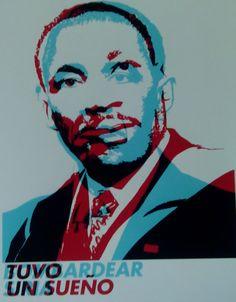Rojo: Martin Luther King con la leyenda: Tuvo un sueño Azul: Barack Obama con la leyenda: Bombardear Siria