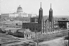 A view of Washington, D.C. from the intersection of 3rd and Indiana Avenue, ca. 1863. In the foreground is Trinity Episcopal Church, in the background, the unfinished Capitol building. Construction on the capitol was briefly suspended early in the (civil) war, but continued through the later years.