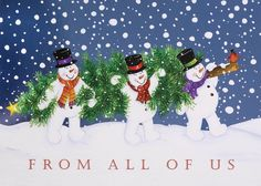 Jolly Snowmen's Tree Time Holiday Greeting Card