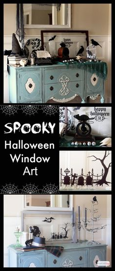 Learn how to use vinyl that you cut yourself (or buy precut decals) to decorate old windows and cabinet doors to make spooky Halloween window silhouettes.