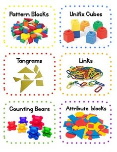 Math Manipulatives Labels - Classroom Organization and Decor Free math tub labels. Page of blank at the endFree math tub labels. Page of blank at the end Preschool Math, Kindergarten Classroom, Teaching Math, Math Activities, Preschool Labels, Bilingual Classroom, Numbers Preschool, Math Resources, Teaching Ideas