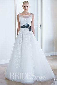 "Brides: Edgardo Bonilla - Fall 2014. Style 314, ""Romantic Rose"" sleeveless lace and tulle A-line wedding dress with illusion bateau neckline and green ribbon belt, Edgardo Bonilla"