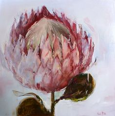 Protea - 120x120cm - Nicole Pletts Abstract Flowers, Watercolor Flowers, Painting Flowers, Art Flowers, Protea Art, Still Life Flowers, South African Artists, Naive Art, Beautiful Paintings