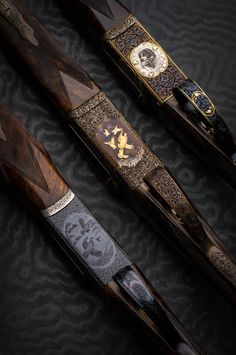 Exquisite details from 3 hunting rifles (two and a Westley Richards Droplock). Sporting Clays, Custom Guns, Custom 1911, Shooting Guns, Shooting Sports, Gun Art, Hunting Rifles, Hunting Art, Double Barrel