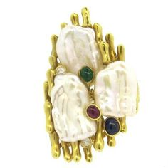 Pearl Ruby Sapphire Emerald Diamond Large 18k Gold Ring