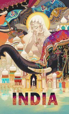 Shop Vintage India travel poster created by Vintage_Republic. Tourism Poster, Poster S, Elefante Hindu, Indian Illustration, Travel Illustration, India Painting, Vintage India, Poster Design, Interior Paint Colors