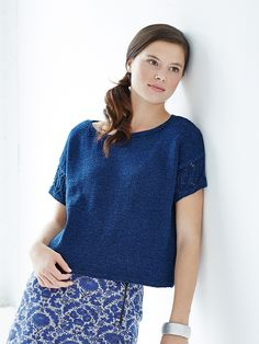 Olympia - Knit this womans tee shirt jumper from Rowan Knitting & Crochet Magazine 57, a design by Grace Melville using Original Denim (100% cotton) with lace short sleeves. This knitting pattern has a two star difficulty rating.