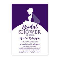 Editable PDF Bridal Shower Invitation DIY - Purple Elegant Wedding Dress - Instant Download Printable- Edit in Adobe Reader