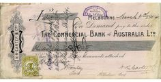 1904 Commercial Bank of Australia Cheque Dated March 31st 1904 this company cheque is average condition for its age.  It is for the sum of Thirteen Pounds and 5 Shillings Sterling paid from the business account of H.R, Carter and Company to one G. Tatlow. It has the standard 1d Stamp duty stamp affixed.  - See more at: https://www.noteworthy-collectibles.com/1904-Commercial-Bank-of-Australia-Cheque