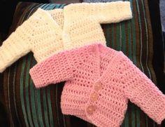 Crochet preemie cardigans