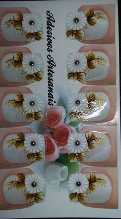 Picsart, Pretty Nails, Manicure, Nail Art, How To Make, Design, White Nail Beds, Glitter Nail Art, Paintings Of Flowers