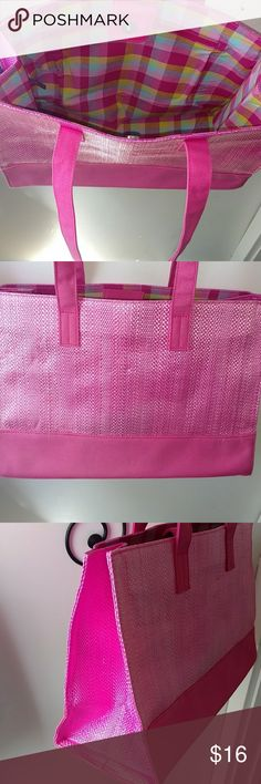 NWOT TOTE ~~ PINK & PASTEL PLAID Design as Shown Have had in my closet but have never used Outside is Canvas like material w Weave Material Strap drop Close to 8 Approx depth is 9-10 Wide is approx 12 Offers welcome as Always locally Bags Totes