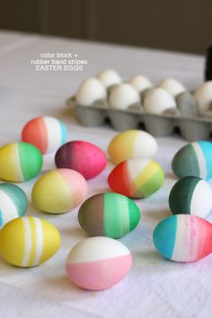 color block and rubber band stripes easter eggs one
