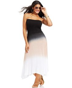 Raviya Plus Size Ombre Covertible Cover-Up Dress
