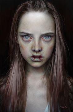 """Grau"" by Elena Sai Face Reference, Creepy Art, Horror Art, Art Plastique, Drawing People, Woman Face, Dark Art, Art Inspo, Character Inspiration"