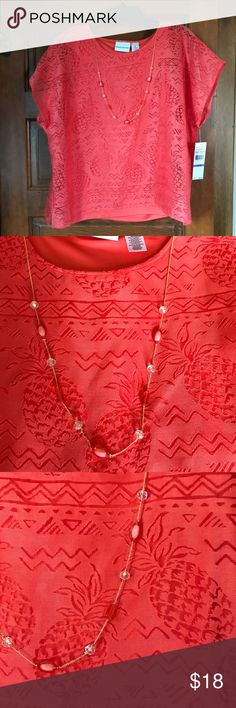 Coral color top w/ pineapple motif, necklace too! Size 18 Alfred Dunner top, has blouse with cutouts over a solid sleeveless shell. Gorgeous color. Includes matching necklace which attaches to top. Misses size 18. Rayon and polyester, machine wash. Alfred Dunner Tops