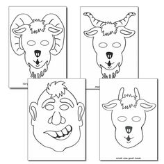 Billy Goat Gruff role play masks colouring sheets.