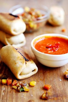 (via Homemade Baked Vegetable Wraps and Sriracha Sauce - Divine...   #healthy #vegetarian #recipes Find more healthy recipes @ standouthealth.com