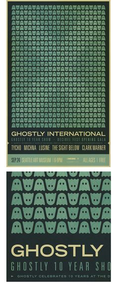 Graphic Design Ideas - Poster for the Ghostly 10 Year show at Seattle Decibel Fest Web Design, Retro Design, Layout Design, Print Design, Graphic Design Posters, Graphic Design Inspiration, Typography Design, Design Ideas, Poster Designs