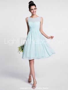 2017 Lanting Bride® Knee-length Chiffon Bridesmaid Dress - A-line Scoop with Draping 2017 - $71.99