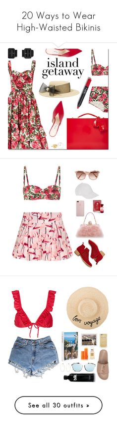 """20 Ways to Wear High-Waisted Bikinis"" by polyvore-editorial ❤ liked on Polyvore featuring waystowear, highwaistedbikinis, Dolce&Gabbana, Attico, Eugenia Kim, Sophie Bille Brahe, RED Valentino, Jeffrey Campbell, Victoria Beckham and Disney"