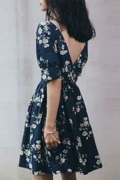 SINCE THEN Blue Floral Short Dress - BOHO INTERNAL STORE